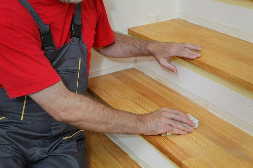 sanding stairs to a smooth finish