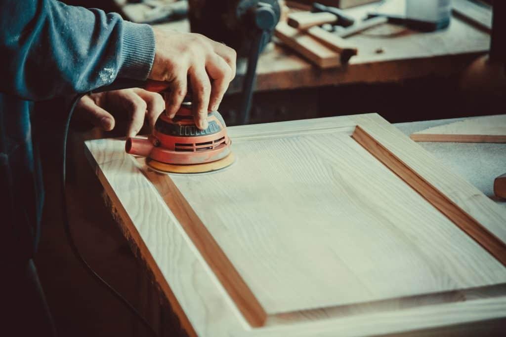 sanding wooden furniture