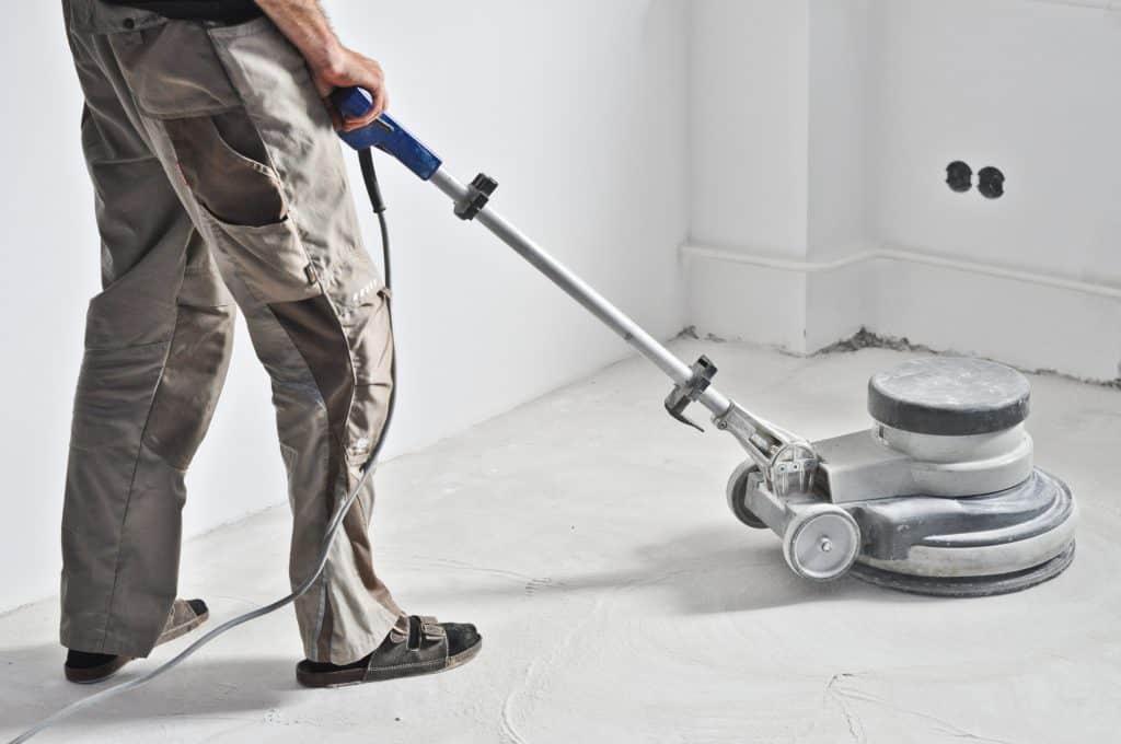 sanding concrete floor